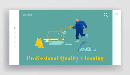 Cleaning Company Staff Working Website Landing Page. Man with Professional Equipment Washing , Vacuuming and Polishing Floor in Office Hall or Lobby Web Page Banner. Cartoon Flat Vector Illustration Archivio Fotografico - 133681281