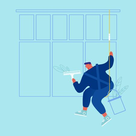 Male Character Wearing Blue Overalls Uniform Washing Window with Wiper Hanging on Ropes. Man Professional Employee of Cleaning Company Working Process Cleaning Service Cartoon Flat Vector Illustration