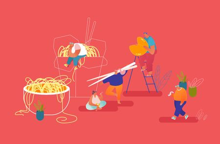 Chinese Food Concept. Male and Female Characters Eating Noodles with Chopsticks. Man Reading Prediction from Wish Cookies on Paper Piece. Tiny People and Huge Dishes. Cartoon Flat Vector Illustration 일러스트