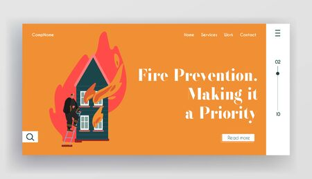 Fire rescue Department Landing Page. Fireman Fighter with Equipment Set, Hydrant, Extinguisher. Firefighter Profession