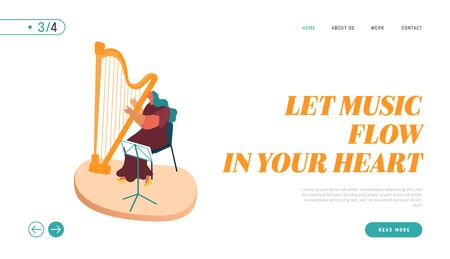Landing Page of Symphony Orchestra Playing Classical Music Concert, Musician with Instrument Harp Performing on Stage Concept Website, Web page. Cartoon Flat Vector Illustration Illusztráció