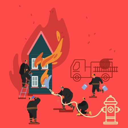 Composition of Firefighter Using Water From Hose for Fire Fighting Burning House. Fireman in Uniform, Fire Department 向量圖像