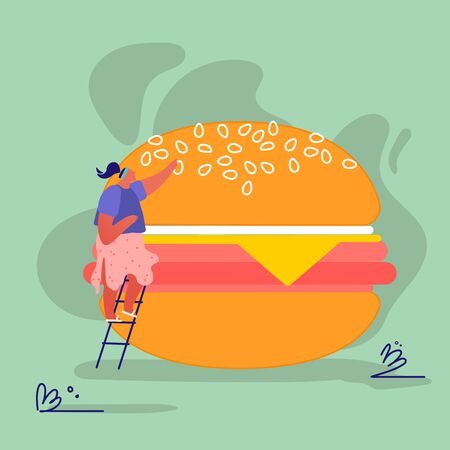 Woman Characters with Fastfood Huge Burger. Concept People Eating Street Fast Food Cafe Meal. Cartoon Flat Vector Illustration Archivio Fotografico - 133681291