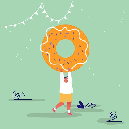 Man Character with Fastfood. Huge Donut Concept, People Eating Street Fast Food Cafe Meal. Cartoon Flat Vector Illustration Archivio Fotografico - 133681293