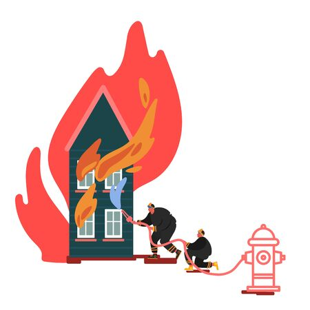 Firefighter Extinguishing and Rescuing with Water Burning House. Fireman in Uniform, Fire Department Rescuer Concept of Equipment Set, Hydrant, Extinguisher. Cartoon Vector Illustration