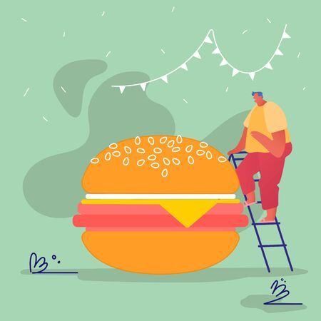 Man Characters with Fastfood Huge Burger. Concept People Eating Street Fast Food Cafe Meal. Cartoon Flat Vector Illustration Archivio Fotografico - 133681307