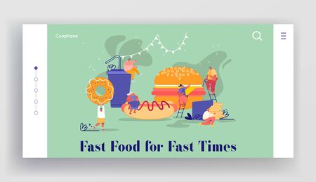 Website of People Characters with Fastfood. Huge Burger, Hot Dog, French Fries, Donut, Soda Drink. People Eating Street Fast Food, Online Meal Order Website Landing Page. Cartoon Vector Illustration Archivio Fotografico - 133681310