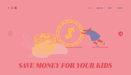 Deposit Box Concept Website Landing Page. Woman with Cash Coins. Concept of Moneybox, Safe Deposit, Banking