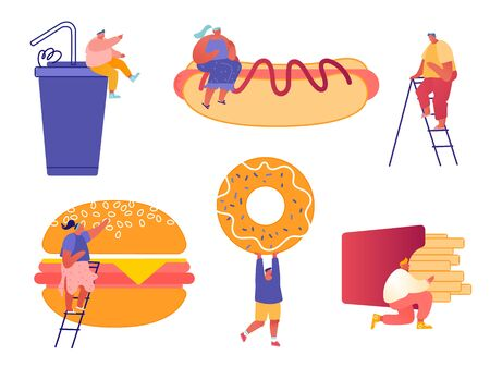 Set of Man and Woman Characters with Fastfood. Huge Burger, Hot Dog with Mustard, French Fries, Donut, Soda Drink. Concept People Eating Street Fast Food Cafe Meal. Cartoon Flat Vector Illustration Archivio Fotografico - 133681318