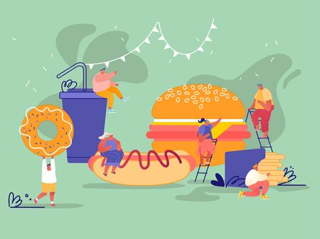 Man and Woman Characters with Fastfood. Huge Burger, Hot Dog with Mustard, French Fries, Donut, Soda Drink. Concept People Eating Street Fast Food Cafe Meal. Cartoon Flat Vector Illustration Archivio Fotografico - 133681319