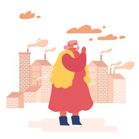 Environment Toxic Gas Pollution, Industry Factory Smog Danger Concept. Woman Character in Protective Face Mask from Dirty City Air, Fine Dust, Industrial fog. Flat Cartoon Vector Illustration Illustration