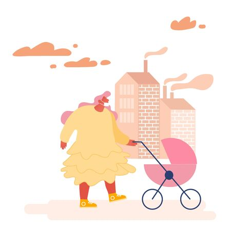 Environment Toxic Gas Pollution, Industry Factory Smog Danger Concept. Woman Character in Protective Face Mask from Dirty City Air, Fine Dust, Industrial fog. Flat Cartoon Vector Illustration