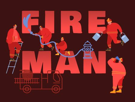 Composition of Firefighter Using Water From Hose for Fire Fighting Burning House. Fireman in Uniform, Fire Department Rescuer with Equipment Set, Truck, Hydrant, Extinguisher. Vector Illustration