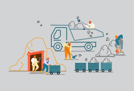 Coal Mining Extraction Industry Concept. Miner Characters Working on Quarry with Tools, Transport and Technique, Work Equipment Transportation Technics. Cartoon Flat Vector Illustration, Line Art