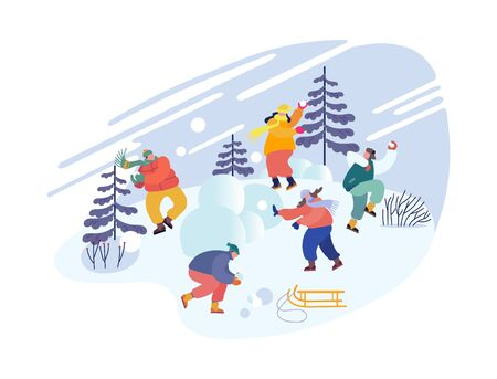 Christmas Holidays Activity. Snowballs Battle between Friends Teams. Happy Young People Company in Warm Clothes Fight with Snow Balls on Street on Wintertime Vacation. Cartoon Flat Vector Illustration
