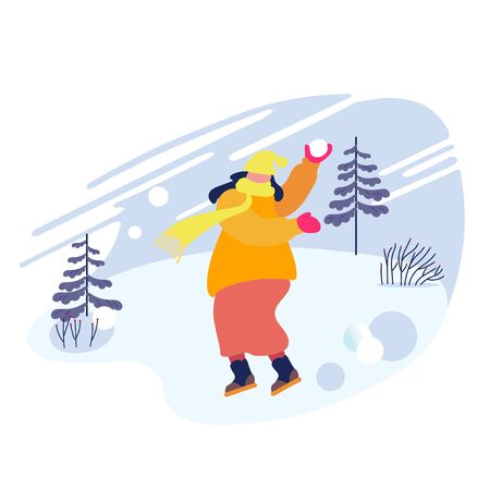 Happy Cheerful Woman in Warm Clothes Throwing Snowball Playing on Snowy Landscape Background. Winter Season Fun and Outdoor Leisure, Active Games and Spare Time. Cartoon Flat Vector Illustration