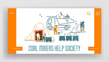 Coal Mining Extraction Industry Website Landing Page. Miners Working on Quarry with Tools, Transport Technique and Work Equipment Technics Web Page Banner. Cartoon Flat Vector Illustration, Line Art Ilustração