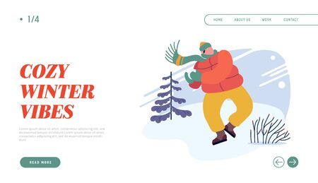 Christmas Holidays Activity Website Landing Page. Young Man in Warm Clothes Playing Snowballs on Street Throwing Snow Ball to Aim. Active Spare Time Web Page Banner. Cartoon Flat Vector Illustration