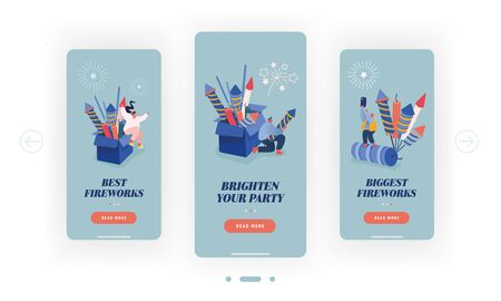 Happy People Setting Off Colourful Fireworks and Petards Mobile App Page Onboard Screen Set. Holidays Celebration Pyrotechnics Show Concept for Website or Web Page, Cartoon Flat Vector Illustration 向量圖像