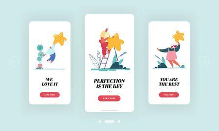 Produkt- oder Servicebewertung und mobiler App-Seiten-Onboard-Bildschirmsatz mit der höchsten Bewertung. Kundenerfahrung, Zufriedenheit und positives Feedback-Konzept für Website oder Webseite Cartoon Flat Vector Illustration Vektorgrafik