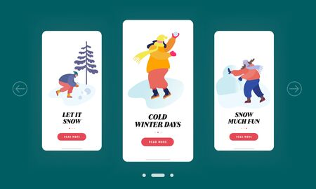 Snowballs Winter Time Outdoors Spare Time Mobile App Page Onboard Screen Set. People Snow Balls Fighting, Wintertime Season Vacation Concept for Website or Web Page, Cartoon Flat Vector Illustration