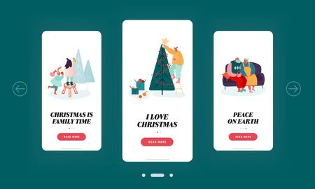 Christmas Family Time Mobile App Page Onboard Screen Set. People Prepare for Xmas Celebration Decorating Fir Tree, Seniors Together Concept for Website or Web Page, Cartoon Flat Vector Illustration
