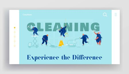 Service of Professional Cleaners Website Landing Page. Male and Female Characters in Uniform with Equipment Cleaning Illusztráció