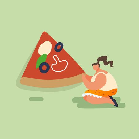 People Woman Baking and Eating Huge Pizza. Female Characters with Piece of Tasty Italian Food. Fast Food, Cafe