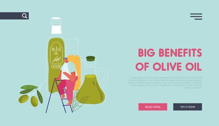 Farmers Natural Oil Product Website Landing Page. Tiny Male Character Stand on Ladder at Huge Extra Virgin Olive Oil Glass Bottles and Green Branch Web Page Banner. Cartoon Flat Vector Illustration