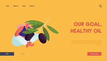 Ecological Healthy Vegetable Oil Farm Production Website Landing Page. Woman Farmer Hold Branch with Ripe Olives. Gardener Harvesting in Garden. Work Web Page Banner. Cartoon Flat Vector Illustration