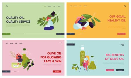 Olive Products Website Landing Page Set. People Growing Caring Harvesting Olive Trees for Production Pure Virgin Oil and Cosmetics. Eco Healthy Food Web Page Banner. Cartoon Flat Vector Illustration Ilustração