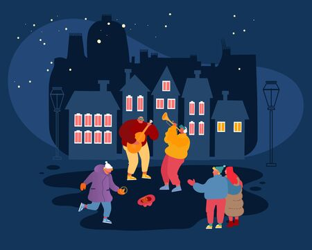 Musical Performance Concept. Street Musicians Perform Outdoor Show. Guitarist and Trumpeter Playing Music in Night City Park People Watching Concert Put Money in Hat Cartoon Flat Vector Illustration  イラスト・ベクター素材
