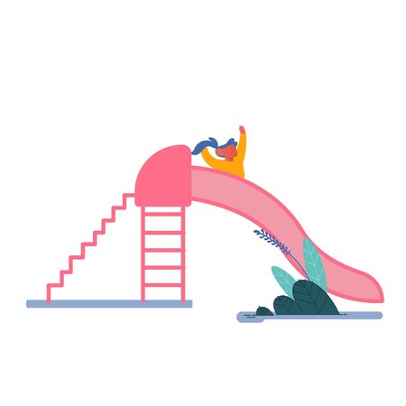 Happy Kid Girl Having Fun Sliding on Outdoor Playground. Child Smiling Playing on Slide, Childhood Active Games on Street. Summer Leisure Vacation Holidays Spare Time. Cartoon Flat Vector Illustration Illustration