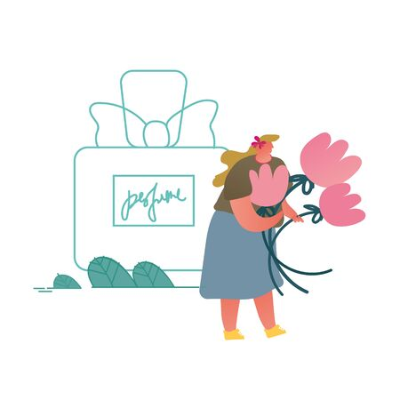 Tiny Perfumer Character Holding Flowers Ingredients for Creating New Perfume Composition. Floral Fragrance Toilet Water, Aroma Cosmetics Perfumery Production Cartoon Flat Vector Illustration, Line Art Vettoriali