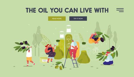 People Using Olive Oil for Beauty Care and Cooking Purposes Website Landing Page. Farmers Working in Orchard Crop Seasonal Harvest Eco Food Production Web Page Banner. Cartoon Flat Vector Illustration Ilustração