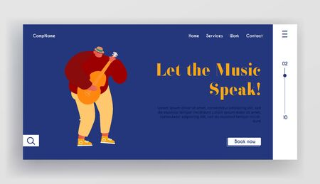 Young Man Playing Acoustic Guitar Website Landing Page. Musician Character Guitarist Music Player Performing on Street Cartoon Flat Vector Illustration Web Page Banner Cartoon Flat Vector Illustration Ilustracja