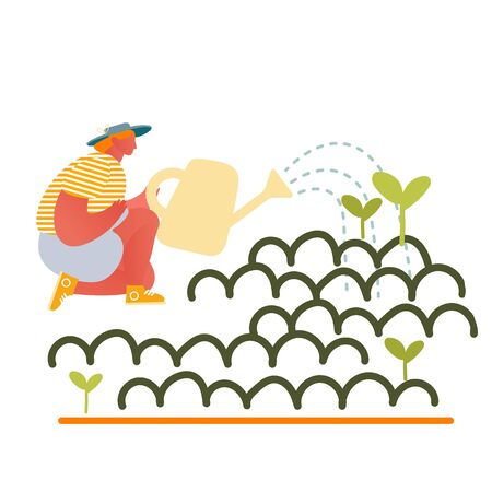 Happy Girl Gardening at Home or in Greenhouse Watering Plants from Can. Homework Woman Character Caring of Flowers and Herbs , Horticulture and Olericulture Hobby Cartoon Flat Vector Illustration