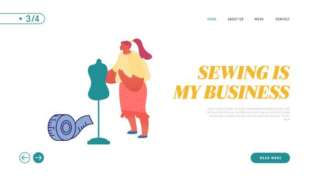 Woman Tailor Master Sewing Clothes Website Landing Page. Apparel or Fashion Designer Projecting Garment on Mannequin. Profession, Creative Occupation Web Page Banner Cartoon Flat Vector Illustration
