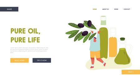 Man Holding Olive Branch with Black Berries Website Landing Page. Plantation Harvesting with Farmer Picking Fruit for Traditional Virgin Oil Production Web Page Banner Cartoon Flat Vector Illustration
