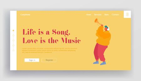 Musical Show or Concert Performance Website Landing Page. Musician Performing on City Street Playing Trumpet for Pedestrians. Talented Man Play Melody Web Page Banner. Cartoon Flat Vector Illustration