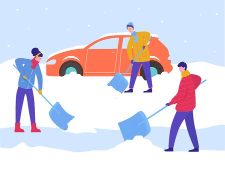 Winter Man and Woman Clean Car out of Snow, Remove Ice with Shovels, Cleaning Backyard Area. Ilustração