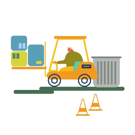 Worker Driving Forklift Truck with Garbage for Waste Processing on Plant. Technological Process. Recycling and Storage of Trash for Further Disposal. Manufacturing Cartoon Flat Vector Illustration