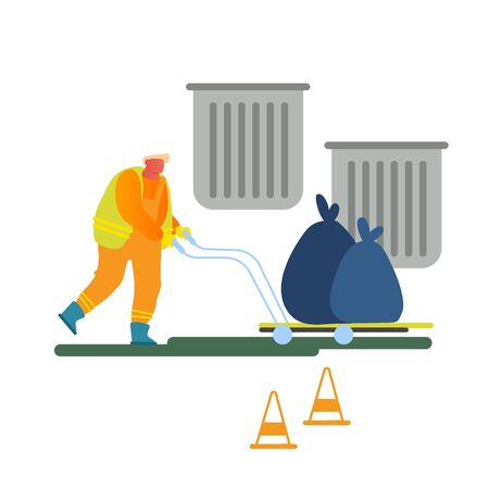 Worker Collect Garbage on Hand Truck Take Out City to Deliver on Wastes Recycling Factory. City Cleaning Service. Scavenger in Uniform Pushing Cart with Litter Sacks. Cartoon Flat Vector Illustration