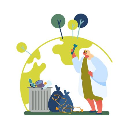Earth Ecology Pollution Concept. Woman Scientist in White Robe Looking in Glass Test Tube Learning Environment, Botanist Stand at Litter Bins Science Investigations. Cartoon Flat Vector Illustration