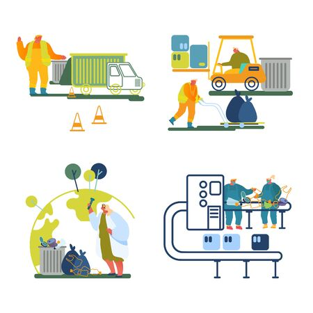 Garbage Recycling Working Process Set Isolated on White Background. Workers Collecting Litter to Truck, Sorting Trash on Factory, Scientist Testing Water in Flask. Cartoon Flat Vector Illustration 벡터 (일러스트)