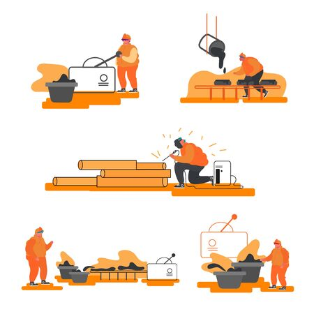 Metallurgy Industry Set. Resource Mining, Smelting of Metal in Big Foundry, Hot Steel Pouring in Steel Plant. Factory Workshop. Steel Workers in Manufacture Process. Cartoon Flat Vector Illustration
