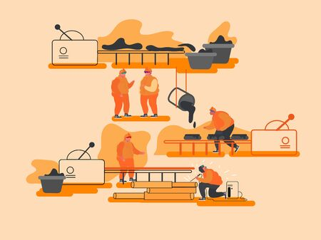 Metal Production Manufacture, Heavy Industry, Metallurgy Concept. Process of Mining and Manufacturing Raw Ore on Plant, Steel Casting and Welding Works on Factory. Cartoon Flat Vector Illustration