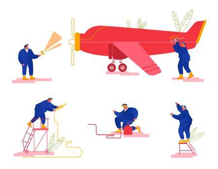 Repair and Maintenance of Aircraft Set. Mechanic Engineers Repairing and Inspecting Airplane Pumping Chassis, Fueling Gas Tank, Checking Fuselage and Propeller Engine. Cartoon Flat Vector Illustration