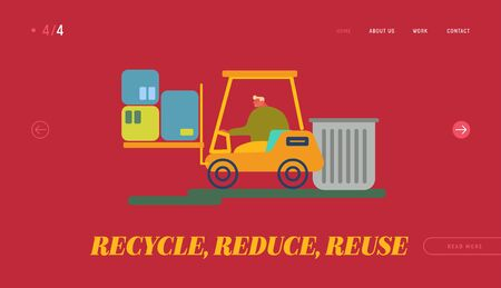 Recycling and Storage of Trash for Further Disposal Website Landing Page. Worker Driving Forklift Truck with Garbage for Waste Processing on Plant Web Page Banner. Cartoon Flat Vector Illustration