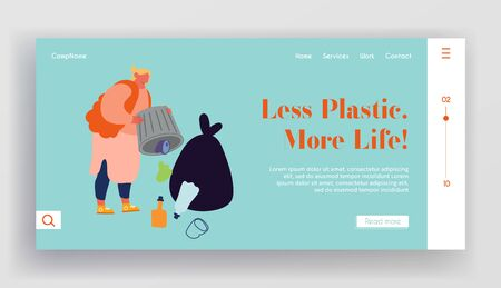Ecology Protection and Struggle with Plastic Pollution Website Landing Page. Slovenly Woman Throw Garbage Out of Litter Bin Polluting Environment Web Page Banner. Cartoon Flat Vector Illustration